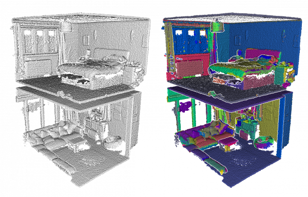 "Figure 6: Example of taking a portion of a point cloud and creating a ""planar-labeled"" dataset to compare to the clustering results."