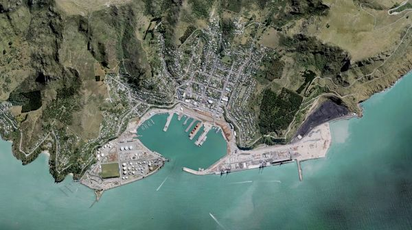 Lyttelton Harbour and Whakaraupō seen from above. (Source: LINZ Basemaps)