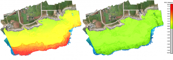 Difference between bathymetric Lidar point cloud and the uncorrected imagery (left) and the difference using corrected imagery from the presented framework (right).
