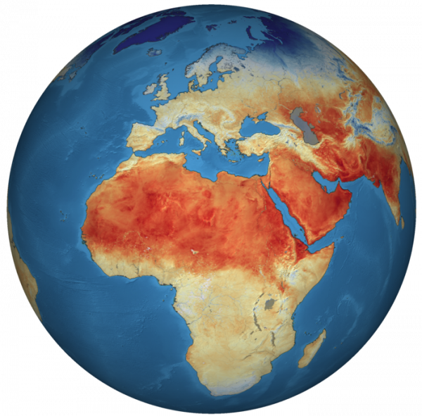 Global land-surface temperature as measured by Copernicus Sentinel-3. Land-surface temperature is an essential climate variable that describes processes such as energy and water exchange between the land surface and atmosphere, and plant growth.
