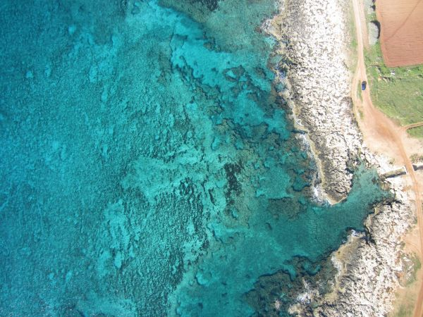 UAV images are used to derive the bathymetry in shallow clear, calm waters and seabeds with texture.