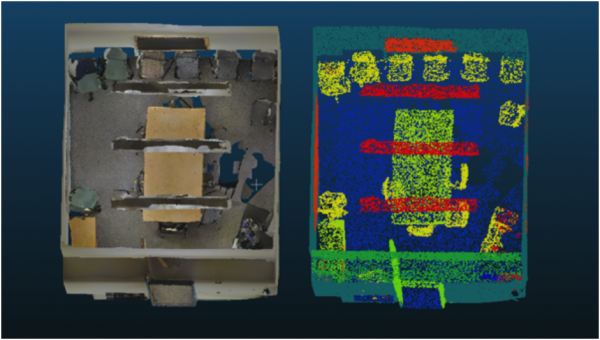 Figure 6: AI Automatic 3D object recognition. Plan view of original point cloud data for a conference room and 3D recognised objects. The ceiling was removed for clarity in viewing the inside of the room.