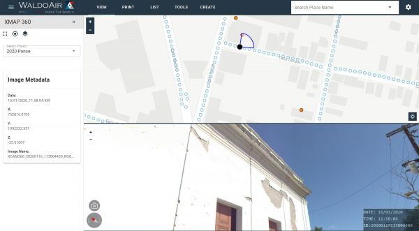 Screenshot of XMAP displaying the panoramic imagery in Ponce. Detail of cracks in buildings useful in assessing levels of damage.