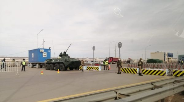 A checkpoint on the border of Nur-Sultan.
