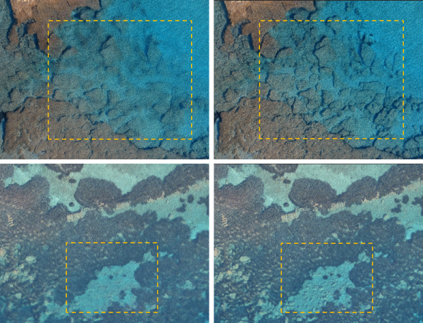 3D models' textures generated with the original (left) and the corrected (right) for refraction imagery.