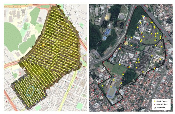 Figure 2: Flight lines and exposure centres of the UAS survey (left) and the distribution of control and check points over the campus.