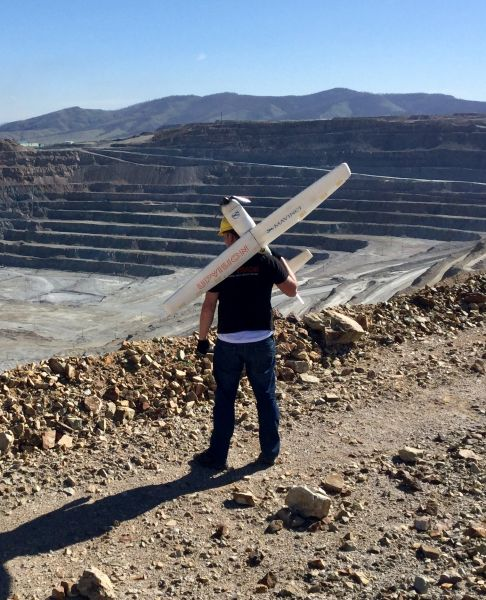Jakub Karas with the UAS, just before take-off for a survey of the Erdenet Mine in the north of Mongolia.