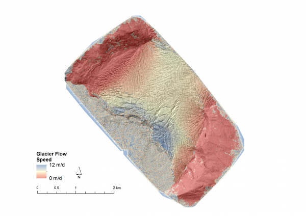 Figure 4: The team found out that the glacier is flowing 12m a day, and obtained new insights into the structure of the flow field.