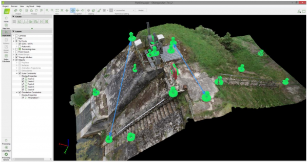 Figure 3: Dam monitoring and inspection – photogrammetry model of a dam within Pix4D.