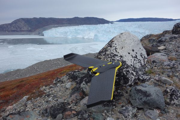 Figure 2: The integrated eBee drone solution was selected to map, and gather insights from, the Eqip Glacier.