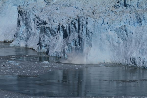 Figure 1: The Eqip Glacier is one of the island's most active pcean-terminating glaciers, with large chunks of ice breaking off at regular intervals every day.