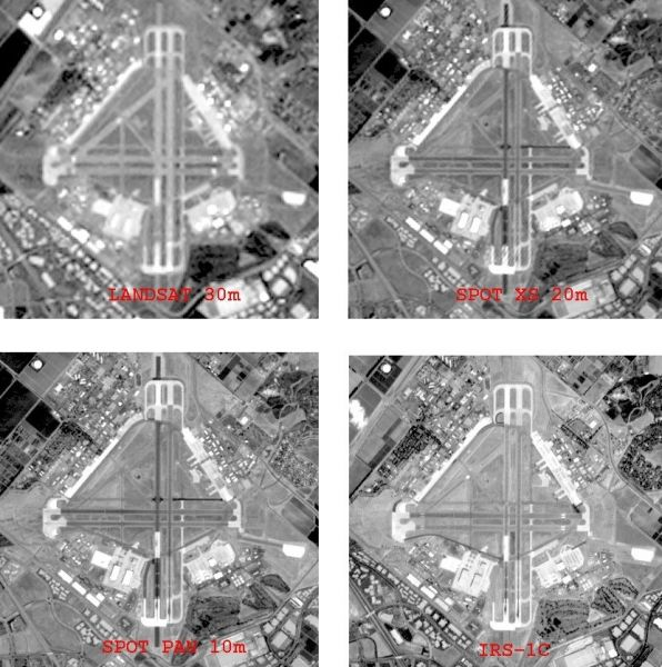 Figure 1: An airport surrounded by varying land uses and captured by four EO sensors with different spatial resolution: Landsat 7 (30m), Spot (20m), Spot (10m) and IRS (5m), shows differences in identifiability of objects; note the different time stamps of image capture (source of the individual images: Land Info Worldwide Mapping, US)