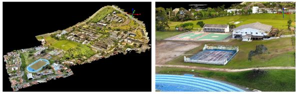 Figure 3: Digital surface model of the campus (left) and detail, generated by dense image matching.