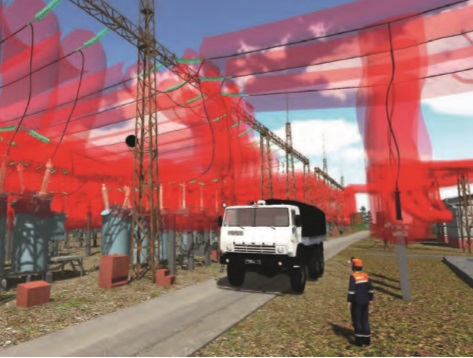 Danger zones for workers modelled as semi-transparent red tubes.