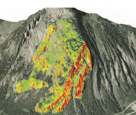 Automatically generated slope mass rating (SMR) map of a slope near Courmayeur in the north-western part of the Alps (red indicates areas that are less stable).