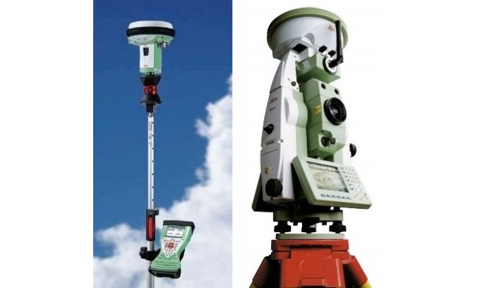 Pole equipped with external controller, prism and GNSS (left) and GNSS antenna on top of total station. (Courtesy: Leica Geosystems)